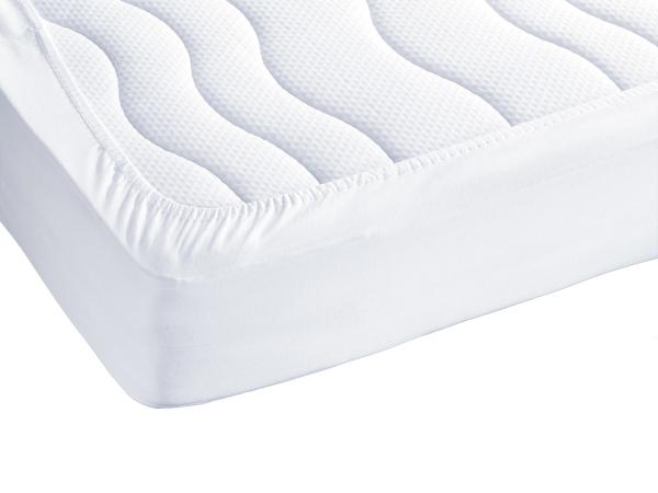 Wasserundurchlässige Matratzenauflage mit Oberseite Frottee-Gewebe und Unterseite Polyurethanfolie, verfügbar in drei Größen: ca. 70x140 cm, 90x200 cm und 100x200 cm, Farbe weiß, Serie Serie Basic-Care