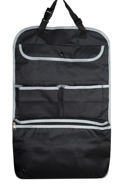 2-er Set Auto-Rücksitztasche aus Kunststoff für Vordersitze, Größe ca. 64x41 cm, Farbe schwarz, Serie Orga-Seat/TV