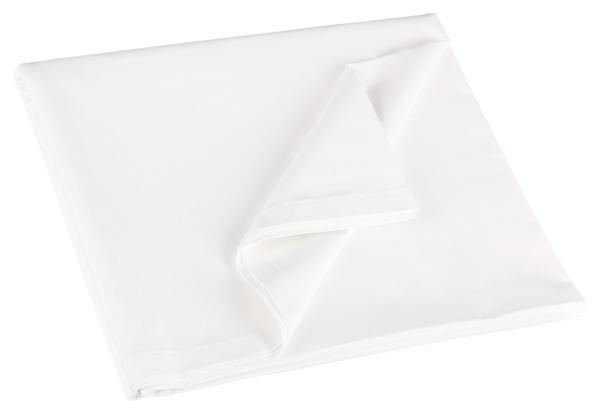 Klassisches Betttuch/Bettlaken aus 100% Baumwolle ohne Gummizug, verfügbar in den Größen ca. 150x260 cm, 180x290 cm und 300x300 cm, Farbe weiß, Serie 22400