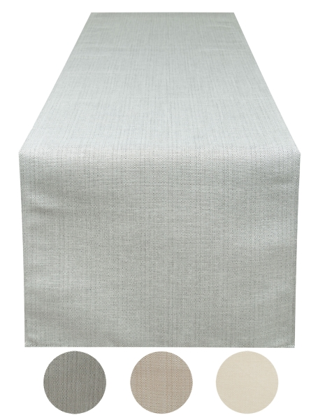 Abwischbarer Tischläufer in melierter Leinenstruktur aus 100% Polyester, mit Fleckschutzausrüstung, Größe ca. 40x180 cm, verfügbar in vier verschiedenen Farben (beige, mocca, sand, stein)