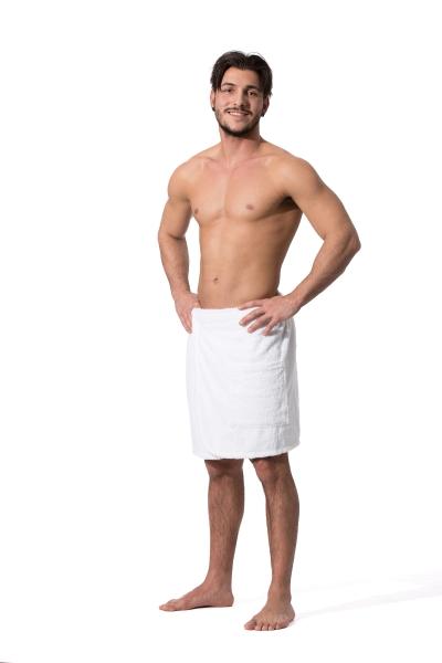 Herrensaunakilt mit Klettverschluss aus 100% saugfähiger Baumwolle, in den Größen S/M und L/XL, verfügbar in drei verschiedenen Farben: weiß, fango und anthrazit, Serie Sana