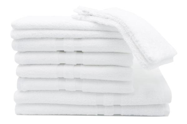 Strapazierfähiges 6-tlg oder 10-tlg. Frottierwäscheset aus 100% saugfähiger Baumwolle, Farbe weiß, Serie Amalfi