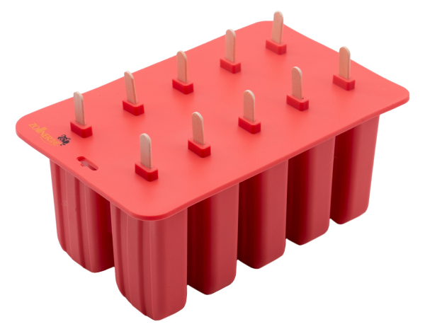 Stieleisform aus Silikon, für 10 Eis mit 10 Holzstielen und Deckel, Farbe rot
