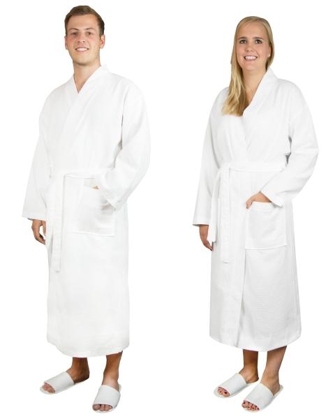 Leichter Bademantel in Waffeloptik aus 100% Baumwolle, Farbe Weiß, verfügbar in den Größen S-XXL, Serie Tokyo