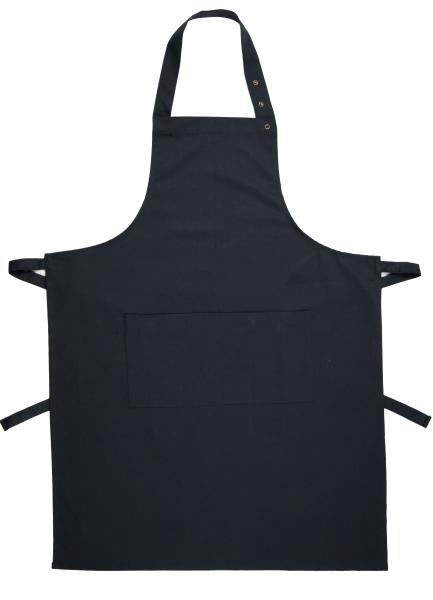 Küchenschürze mit verstellbarem Nackenband und zwei aufgesetzten Taschen aus 100% Baumwolle, Größe ca. 75x100 cm, verfügbar in den Farben schwarz, grau und schwarz/weiß-gestreift, Serie Paolo