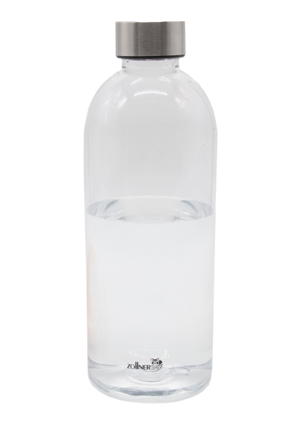 Durchsichtige Wasserflasche aus BPA-freiem Tritan-Kunststoff mit Edelstahlkappe, Fassungsvermögen ca. 1L, Serie C024