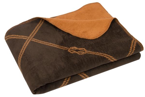 Weiche Kuscheldecke mit stylischem Knotendesign aus 60% Baumwolle/40% Polyacryl, Größe ca. 150x200 cm, verfügbar in den zwei Farben marine-weiß und braun-camel, Serie Cavo