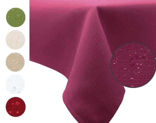 abwischbare Tischdecke aus 100% Polyester, mit Fleckschutzausrüstung, verfügbar in den Größen ca. 140x180 cm und 140x220 cm, wählbar in sieben modischen Farben