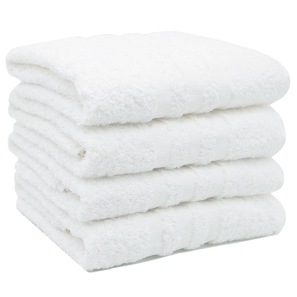 4er-Set kochfeste Handtücher aus 100% saugfähiger Baumwolle, Größe ca. 50x100 cm, Farbe weiß, Serie Capri