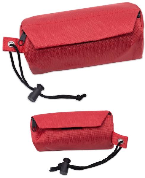 Futterdummy aus 100% Polyester, Farbe rot, verfügbar in den Größen 6x14 cm oder 8x18 cm