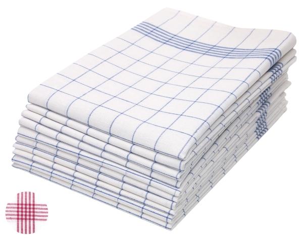 10er-Set Geschirrtücher aus 100% Baumwolle, Größe ca. 50x70 cm, verfügbar in den Farben blau-weiß-kariert und rot-weiß-kariert