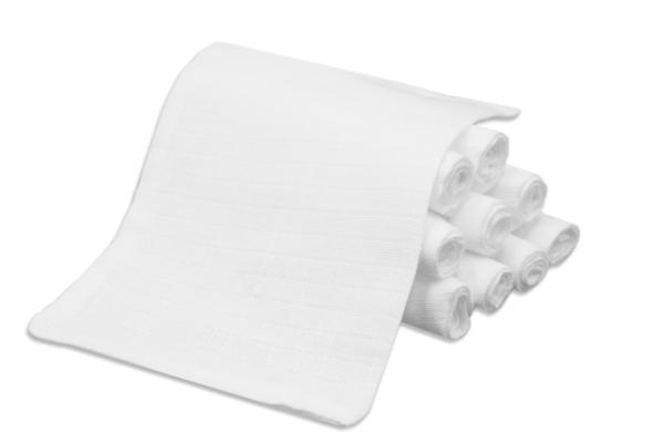 10er-Set Waschlappen aus 100% saugfähiger Baumwolle, schadstoffgeprüft, Größe ca. 17x22 cm, Farbe weiß, Serie Kiel-WH