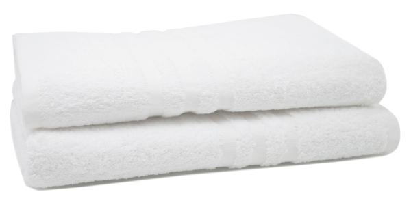 2er-Set kochfeste Duschtücher aus 100% saugfähiger Baumwolle, Größe ca. 70x140 cm, Farbe weiß, Serie Capri