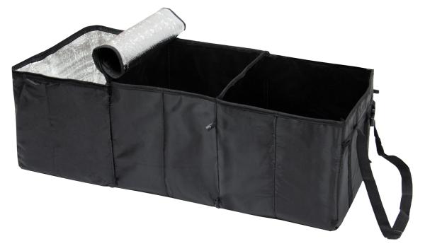 Kofferraum Organizer mit zwei Tragegriffen aus Polyester mit PVC Beschichtung, Größe ca. 30x31x86 cm, Farbe schwarz, Serie Orga-Car