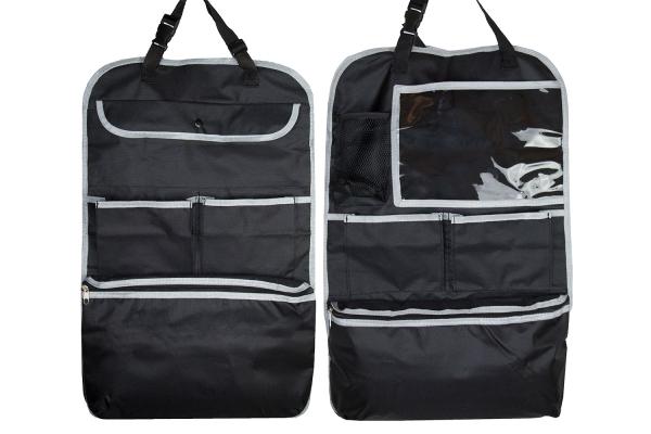 2-er Set Auto-Rücksitztasche aus Kunststoff für Vordersitze, Größe ca. 64x41 cm, Farbe schwarz