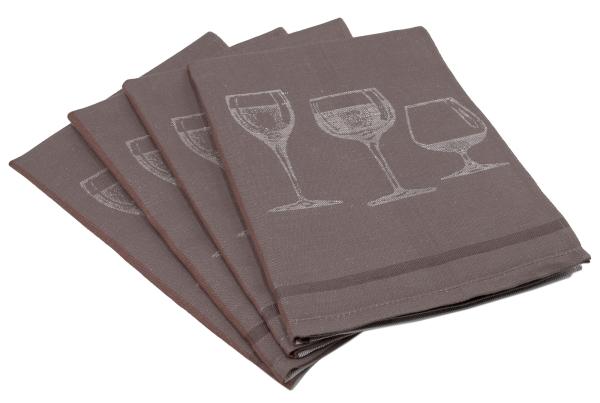 4er-Set Halbleinen-Geschirrtücher, Größe ca. 50x70 cm, verfügbar in den Farben braun, blau und sortiert, Serie Glas