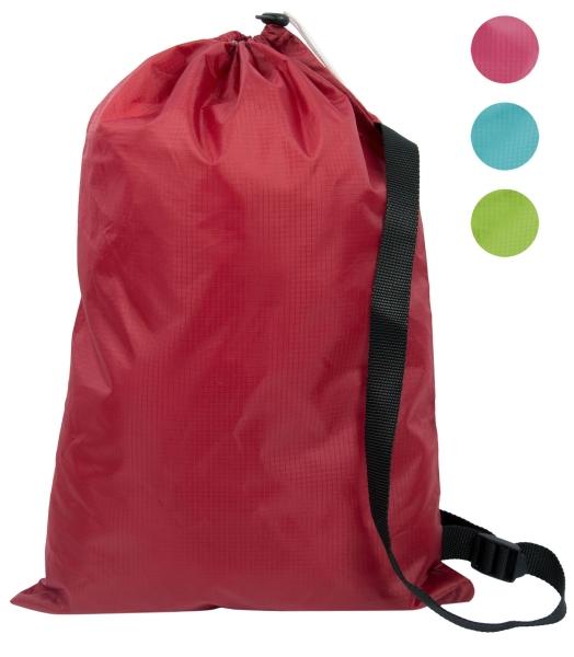 Wasserdichter Sportbeutel aus 100% Polyester, Größe ca. 32x46 cm, erhältlich in den Farben türkis, grün, rot oder pink