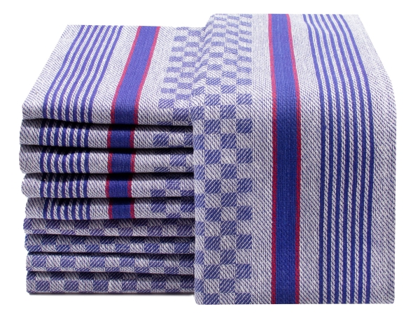 10er Set Geschirrtücher aus Baumwolle, ca. 45x90 cm, blau-weiß-kariert