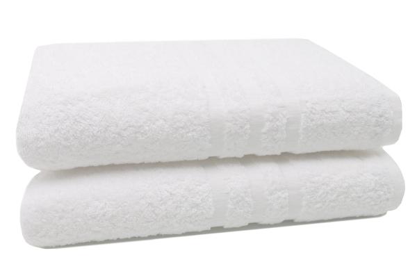 2er-Set kochfeste Badetücher aus 100% saugfähiger Baumwolle, Größe ca. 100x150 cm, Farbe weiß, Serie Amalfi