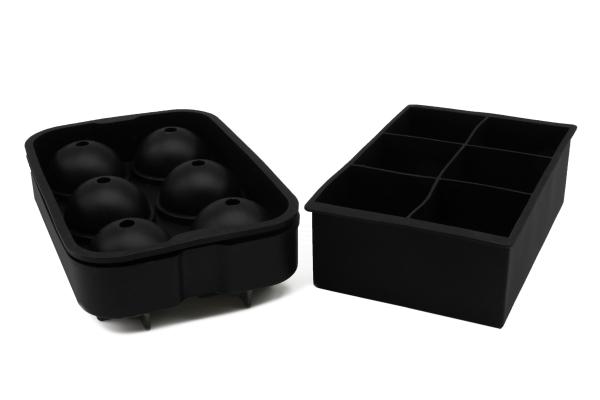 2-er Set wiederverwendbare Eiswürfelform aus Silikon, kugelförmig und würfelförmig, Farbe schwarz, Serie Whisky