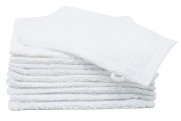 10er-Set kochfeste Waschlappen aus 100% Walkfrottier, Größe ca. 16x21 cm, Farbe weiß, Serie Amalfi