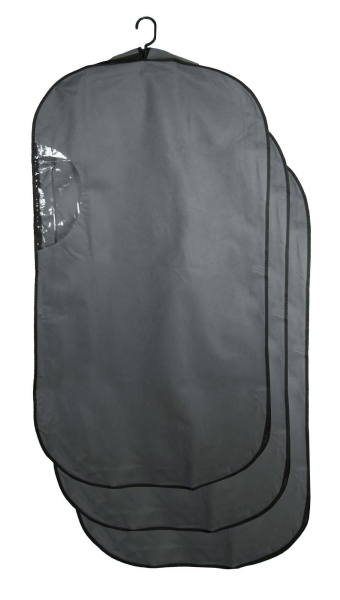 3-er Set atmungsaktive Kleiderschutzhülle aus Vliesstoff mit PVC, Größe ca. 60x114x10 cm, Farbe grau mit schwarzem Einfassband