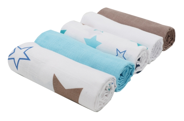 5-er Set Spucktücher/Mullwindeln aus 100% Baumwolle, Größe ca. 70x70 cm, verschieden gemustert (2 mit Sternchen, 3 uni farbig), Serie Hope