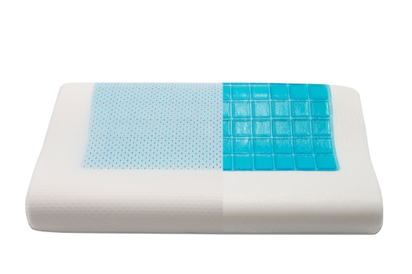 kühlendes viskoelastisches Nackenstützkissen aus 70% Formschaum/30% Kühlgel, Bezug aus weißem Mesh/Velours, Größe ca. 30x50 cm