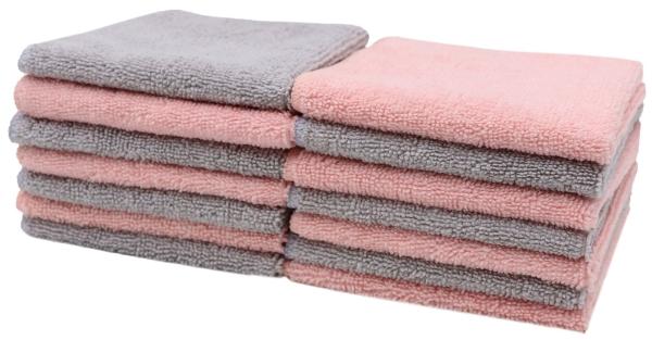 14-er Set wiederverwendbare Kosmetiktücher aus 80% Polyester/20% Polyamid, Größe ca. 25x25 cm, farblich sortiert 7x rosa und 7x hellgrau, Serie Bel