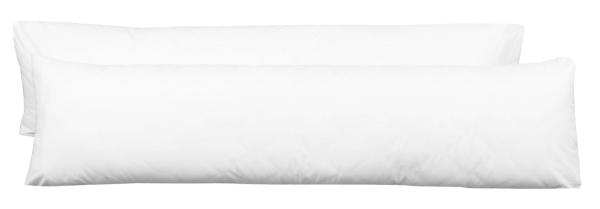 2er Set Seitenschläferkissenbezug aus 50% Baumwolle und 50% Polyester, Farbe weiß, verfügbar in den Größen ca. 40x145 cm oder 40x200 cm, Serie Saba