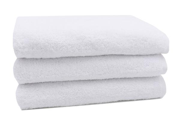 3er-Set Duschtuch aus 100% saugfähiger Baumwolle, Größe ca. 70x140 cm, in vier verschiedenen Farben (weiß, sonne, apfelgrün, taupe), Serie Star-Elba