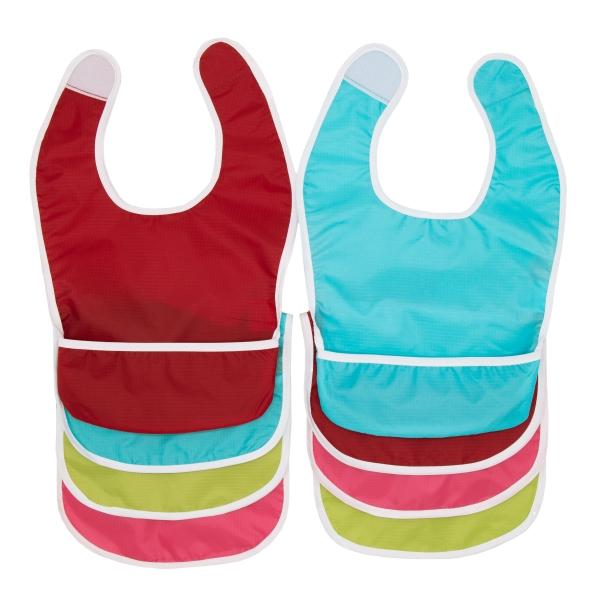 8er Set Babylätzchen mit Auffangmulde, Größe ca. 37x23 cm, aus robusten Polyester, Farben können variieren, Serie B007