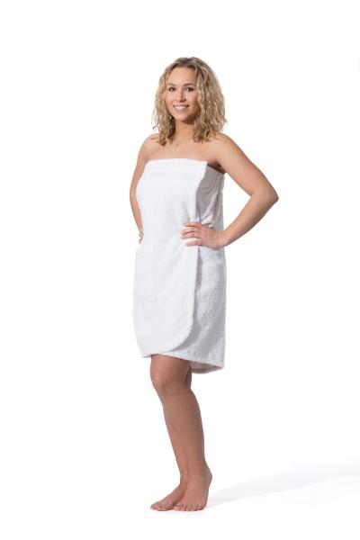 Damensaunakilt mit Klettverschluss aus 100% saugfähiger Baumwolle, in den Größen S/M und L/XL, verfügbar in drei verschiedenen Farben: weiß, fango und anthrazit, Serie Sana
