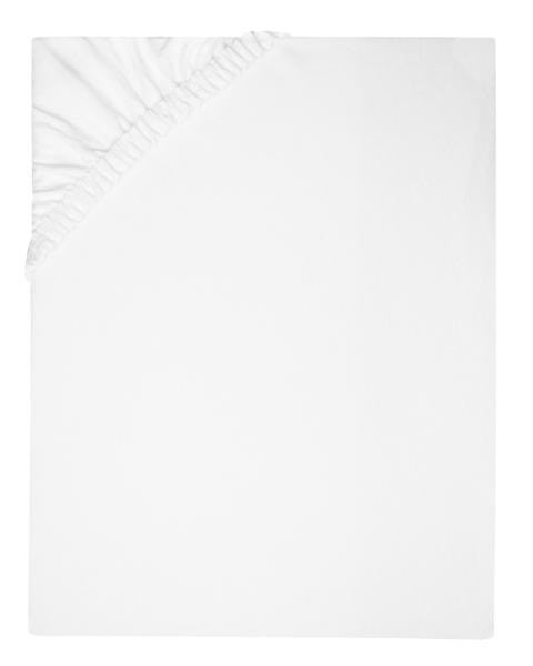 hochwertiges Spannbetttuch aus 80% Baumwolle/20% Polyamid, verfübgar in drei Größen: 100x200 cm, 160x200 cm und 200x200 cm, Farbe weiß
