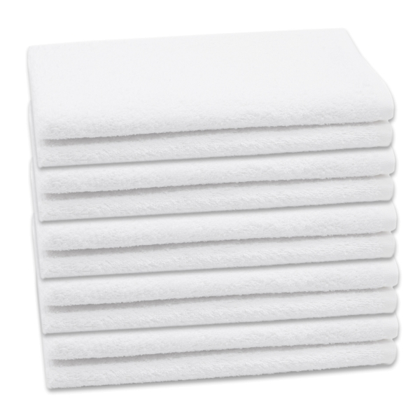 10er-Set kochfeste Gästehandtücher aus 100% saugfähiger Baumwolle, Größe ca. 30x50 cm, Farbe weiß, Serie Amalfi