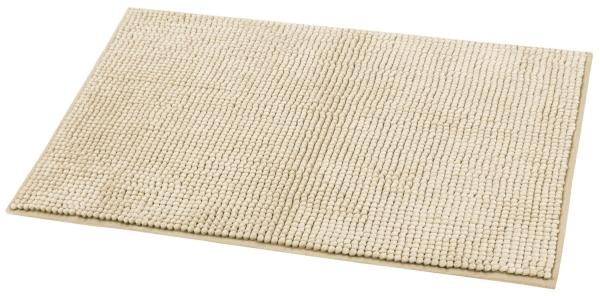 Rutschfeste Hochflor Badematte, Größe ca. 50x80 cm, verfügbar in den Farben beige oder grau, Serie Toft