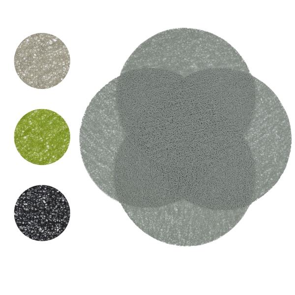 4er-Set hochwertige Tischsets aus strapazierfähigem Kunststoff, Durchmesser ca. 38 cm, verfügbar in den Farben beige, grün, schwarz und grau
