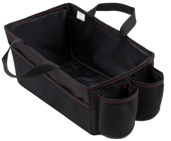 Praktischer Auto Organizer, keilförmig, Größe ca. 30x20x18 cm, Farbe schwarz mit roten Nähten