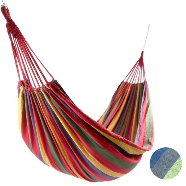 Hängematte aus 10% Baumwolle und 90% Polyester, ca. 150x210 cm, mit Transportbeutel und 2 m langen Seilen, erhältlich in der Farbe dunkelblau oder rot