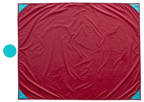 robuste Picknickdecke aus strapazierfähigem Polyester, Größe ca. 135x165 cm, Tragetasche, erhältlich in türkis mit roten oder rot mit türkisen Ecken