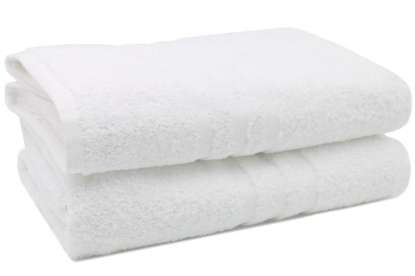 2er-Set kochfeste Badetücher aus 100% saugfähiger Baumwolle, Größe ca. 100x150 cm, Farbe weiß, Serie Capri