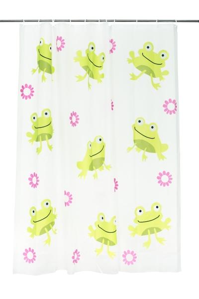 Wasserabweisender Duschvorhang aus 100% umweltfreundlichem PEVA, Größe ca. 180x180 cm, bunt, Serie Frog