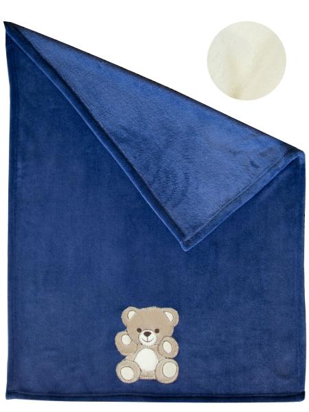 Babydecke/Kuscheldecke aus 100% Polyester, verfügbar in der Größe ca. 75x100 cm, in zwei verschiedenen Farben: wollweiß und marine