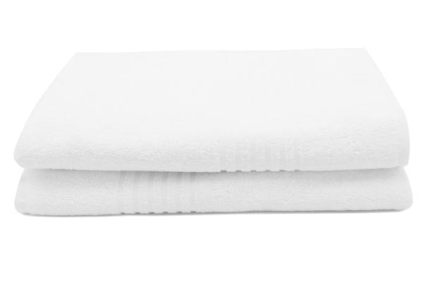 2er-Set kochfeste Duschtücher aus 100% saugfähiger Baumwolle, Größe ca. 50x100 cm, Farbe weiß, Serie Malta