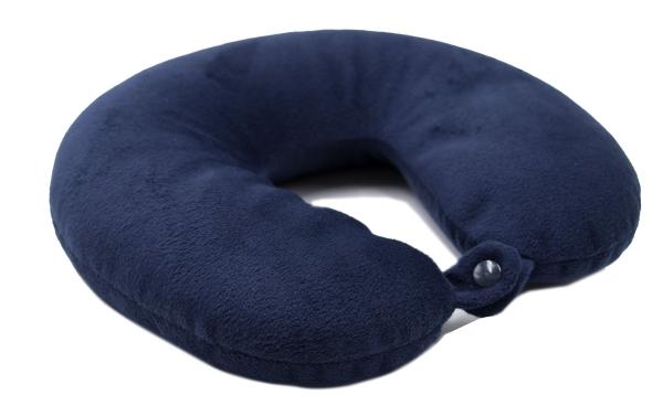 Gemütliches Nackenhörnchen Füllung aus Mikroperlen, Bezug aus angenehmen blauen Velours, Serie Corno