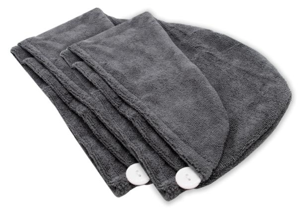 2-er Set Haarturban aus 80% Polyester und 20% Polyamid, mit praktischem Knopfverschluss im Nacken, Farbe anthrazit