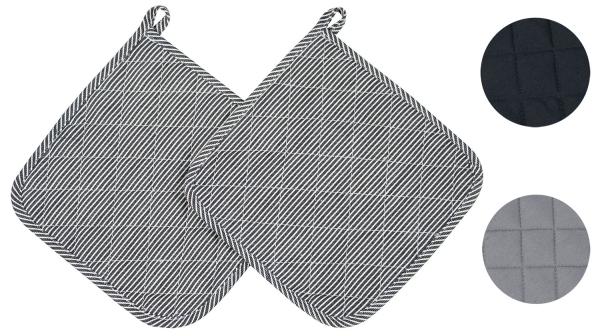 2er-Set Topflappen aus 100% Baumwolle, Größe ca. 24x24 cm, verfügbar in den Farben schwarz, grau und schwarz/weiß-gestreift, Serie Paolo
