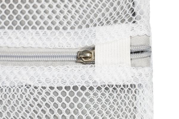 6er-Set Wäschenetz mit Reißerschluss, enthalten ist: 2x ca. 50x60 cm, 2x ca. 40x50 cm, 1x ca. 30x40 cm und 1x rund 16 cm und 14 cm hoch, Farbe weiß mit grauer Blende, Serie Amy