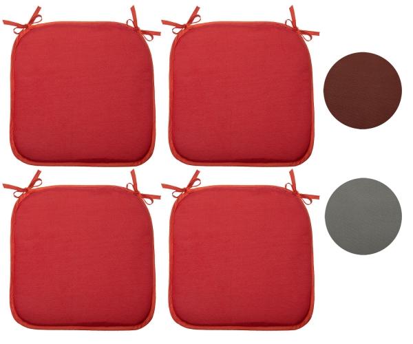 4er Set Stuhlkissen mit Bindebänder, Größe ca. 38x38xcm, erhältlich in den Farben rot, braun oder anthrazit