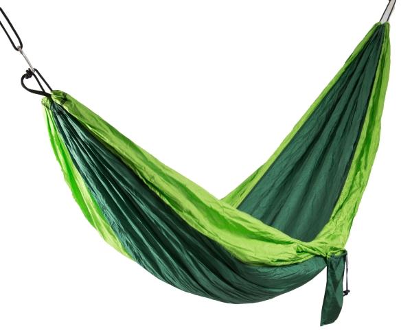 Robuste Hängematte aus Fallschirmnylon, belastbar bis max. 300 kg, Farbe: grün-hellgrün, erhältlich in den Größen 275x140 cm oder 300x200 cm, Serie Libro